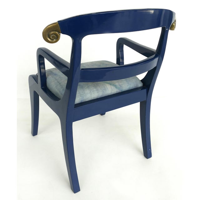 1980s Klismos Ram's Horn Lacquered Arm Chairs- a Pair For Sale - Image 5 of 10