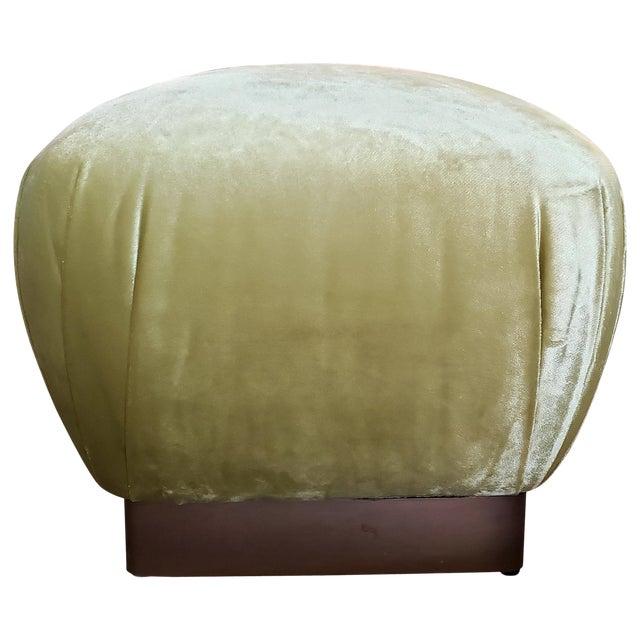 Vintage Brass Plinth Base Ottoman Reupholstered in Citrine Velvet For Sale