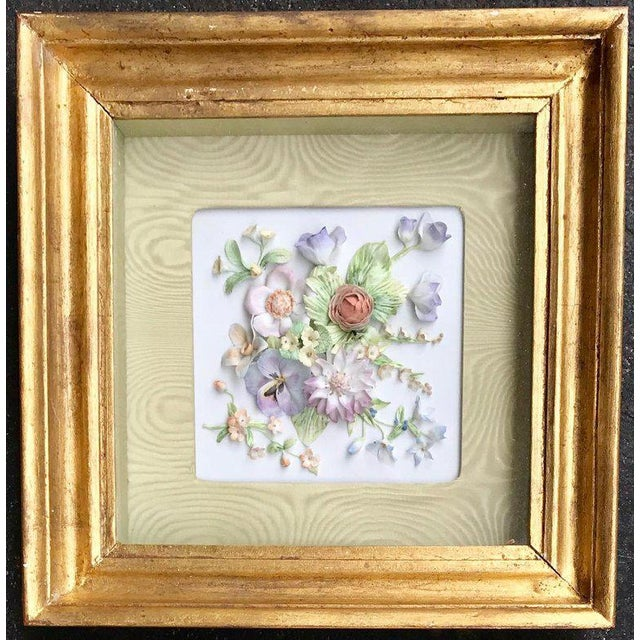Late 19th Century 19th Century Bisque German Porcelain Floral Plaques in Shadow Boxes - a Pair For Sale - Image 5 of 12
