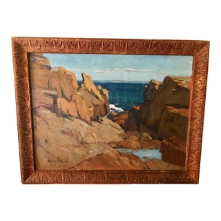 Oil on Canvas Coastal Maine by Harriet F. Smith For Sale