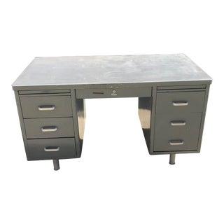 Vintage Metal Six Drawer Tanker Desk For Sale