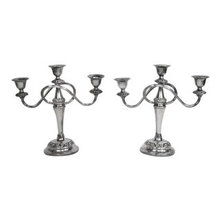 1960s Silver Plate Trio Candle Holders - a Pair For Sale