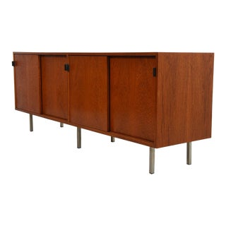 Early Florence Knoll Low Office / Filing Credenza With Leather Pulls