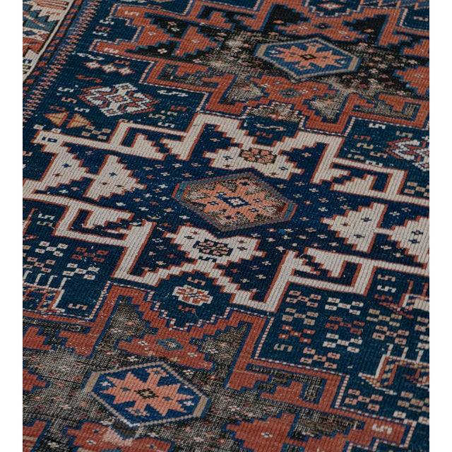 MANSOUR Handwoven Antique Wool Caucasian Rug For Sale - Image 4 of 8