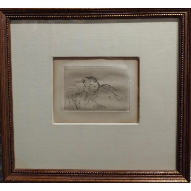 "Berthe Morisot -Reclining woman-etching c1880s frame size 12 x 13"" paper size 3 x 4"" paper under glass and framed Artist..."