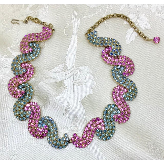 Mid-Century Modern 1950s Schiaparelli Pink and Blue Rhinestone Necklace For Sale - Image 3 of 6