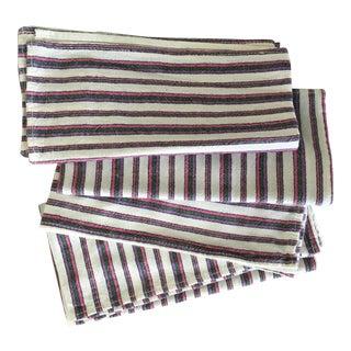 John Derian Pink Striped Linen Napkins, Set of 4 For Sale