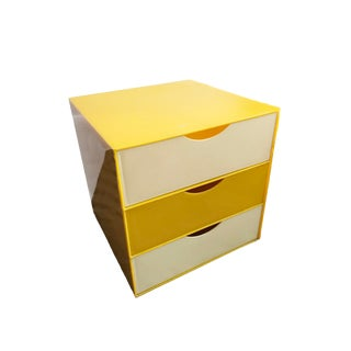 Op Art Yellow Acrylic Side Table Storage Cabinet For Sale