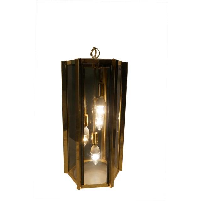 Hollywood Regency Fredrick Ramond Smoked Glass & Brass Pendant Lamp For Sale - Image 3 of 6