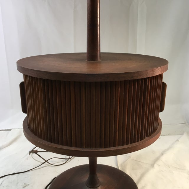 Vintage Mid-Century Leviton Wooden Floor Lamp With Tray Table and Sliding Compartment For Sale - Image 4 of 13