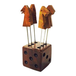 Vintage Dice and Horse Cocktail Pick Set