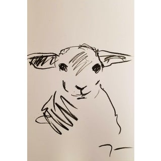 Abstract Minimalism Farm Animal Lamb Oil Pastels Painting by Jose Trujillo For Sale