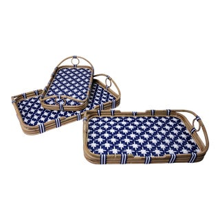 Madrid Nested Trays, Set of 3, Navy Blue, Rattan For Sale