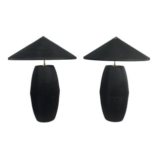 Frank Gehry or Gregory Van Pelt Style Post Modern Cardboard Lamps - a Pair