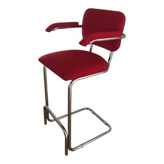 Cesca Cantilever Upholstered Fabric and Chrome Bar Stool With Armrests Designed by Marcel Breuer For Sale