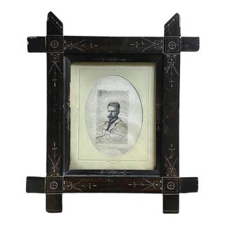 1895 Portrait of Arpad Geyza Gerster Etching on Washi Paper in Hand Carved Ebonized Antique Wood Frame For Sale