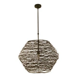 Industrial Currey & Co. Prototype Metal Basket Chandelier For Sale