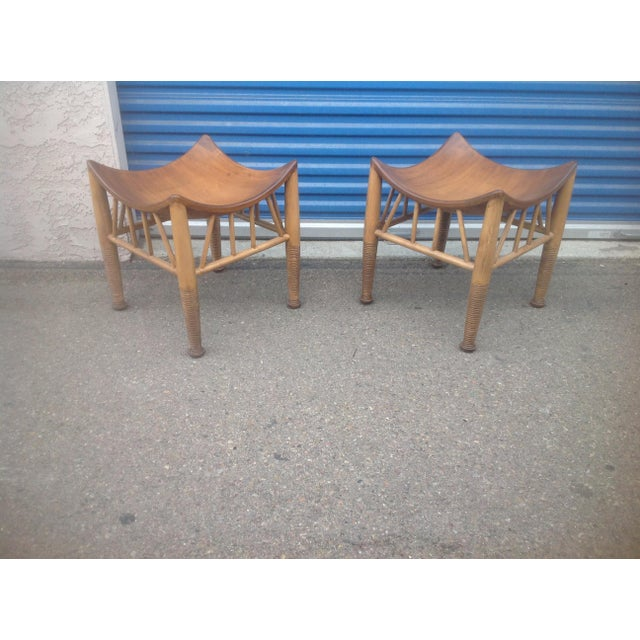 Modern Mid Century Style Accent Stools- A Pair For Sale - Image 4 of 6