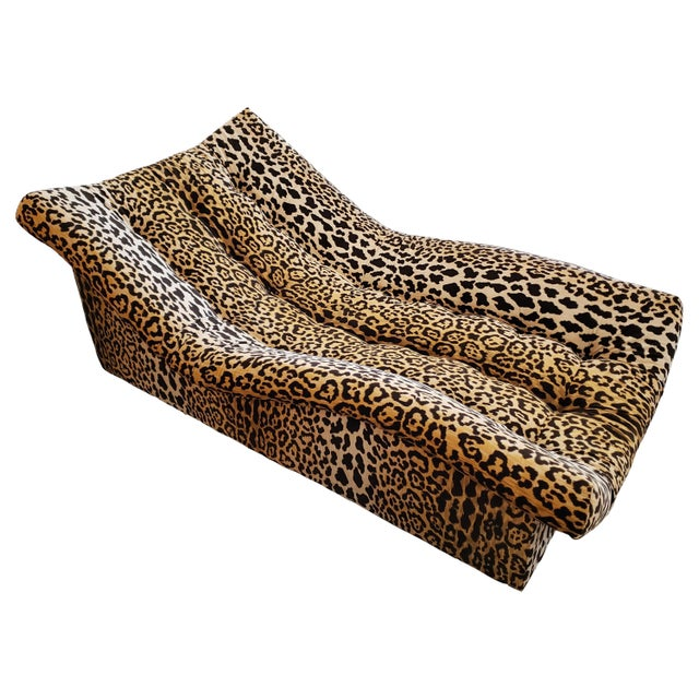 1980s Vintage Tufted Leopard Chaise Lounge For Sale - Image 5 of 5
