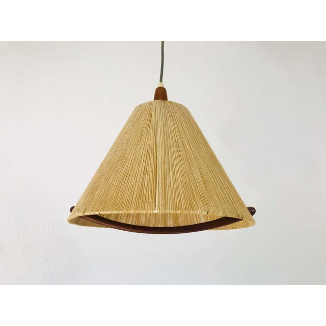 1960s Midcentury Teak and Rattan Hanging Lamp, circa 1970 For Sale - Image 5 of 12