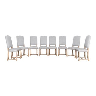 1950s Belgian Upholstered Dining Chairs - a Set of Eight For Sale