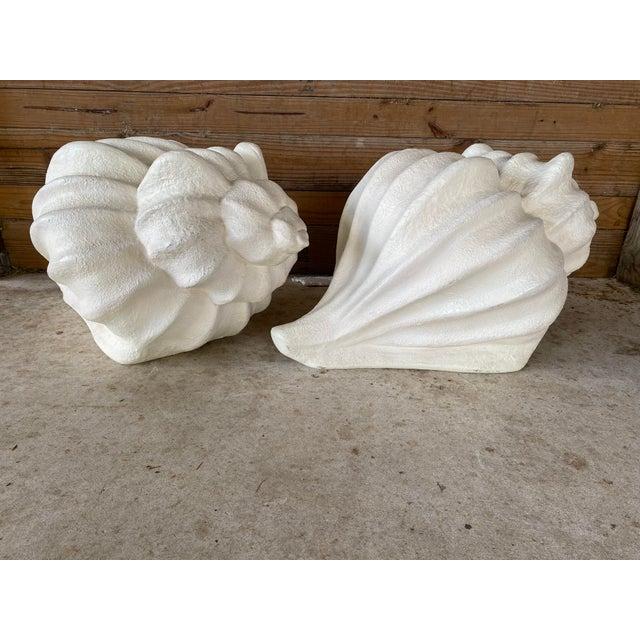 Hollywood Regency Large Vintage Sculptural Plaster Shell Table Bases-Pair For Sale - Image 3 of 13
