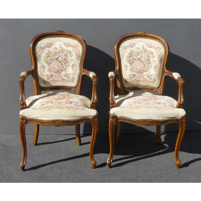 Vintage French Provincial Accent Arm Chairs - Pair - Image 2 of 11