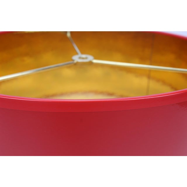 Not Yet Made - Made To Order Small High Gloss Red Drum Lamp Shade With Gold Lining For Sale - Image 5 of 6