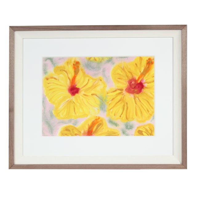 "2010s ""Yellow Hibiscus"" Hawaii Still Life, Ink, Watercolor and Gouache Painting on Paper For Sale - Image 5 of 5"