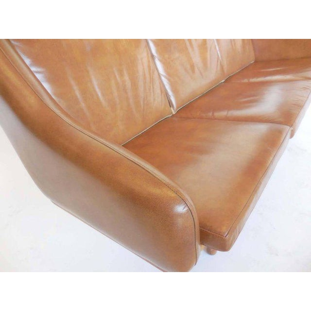 1955 oak framed leather sofa by Poul Volther, Denmark in very good condition. Very light wear considering its age. Cognac...