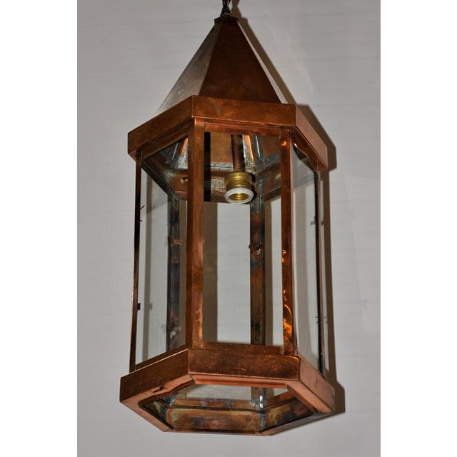 Copper Hanging Lantern For Sale - Image 4 of 6