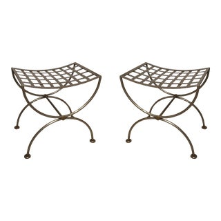 Pair of Brass-Trimmed Steel Lattice Benches For Sale