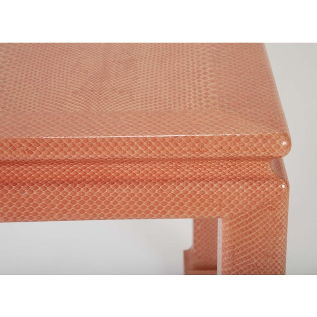 Coral Colored Snake Skin Games Table by Karl Springer For Sale - Image 9 of 12