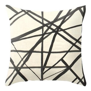 Abstract Channels Pillow Cover in Ebony and Ivory For Sale