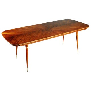 Giuseppe Scapinelli Caviuna Rosewood and Brass Dining Table, Brazil, Circa 1950 For Sale