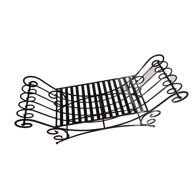 Eye-catching handmade, black wrought iron Mediterranean style bench with sweeping - scrolled sides. An elegant piece that...