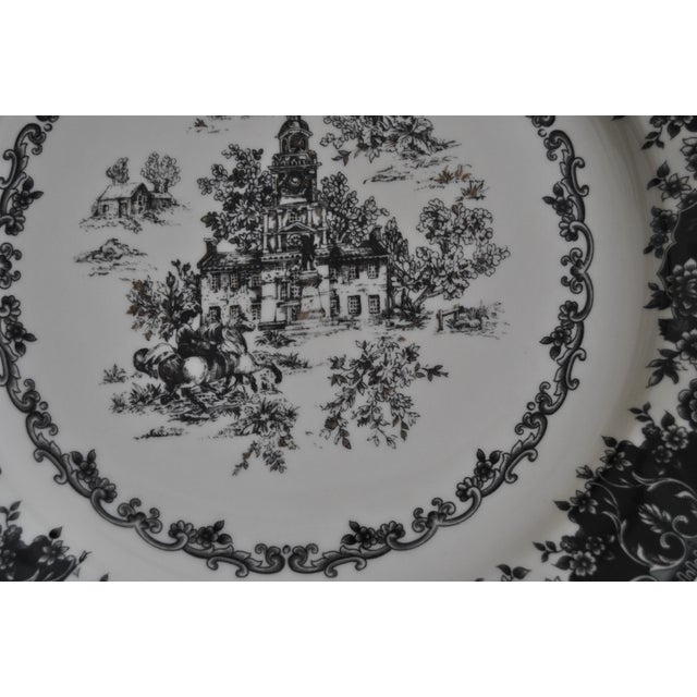 Toile Black Staffordshire Plate, Equestrian Trasferware Tabletop Platter For Sale In Salt Lake City - Image 6 of 7