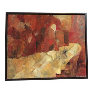 Mid-Century Red, Cream & Gold Abstract Painting For Sale