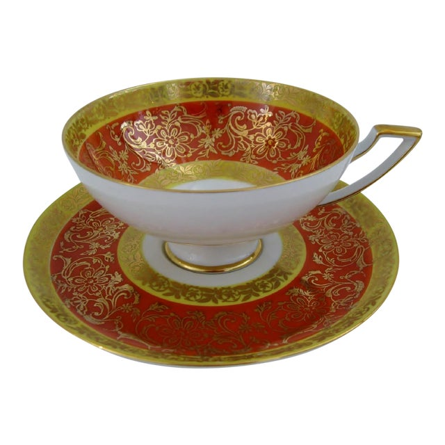 Vintage Bavarian Tea Cup & Saucer For Sale