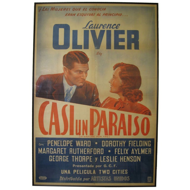 "Vintage movie poster for ""Adventure for Two"" a.k.a. ""The Demi-Paradise (Casi un Paraiso)."" Circa the 1950s."