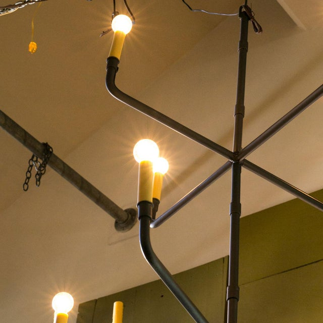 Contemporary Two-Tier Hand-Made Iron Chandelier For Sale - Image 3 of 6