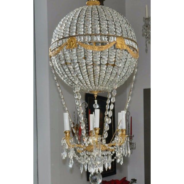 French Montgolfier Ormolu and Crystal Hot Air Balloon Chandelier For Sale - Image 3 of 9