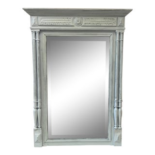 1880s Antique French Grey Painted Mantel Mirror For Sale