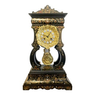 Mantle, Table Clock Louis Philippe Ebony and Boule Inlaid For Sale