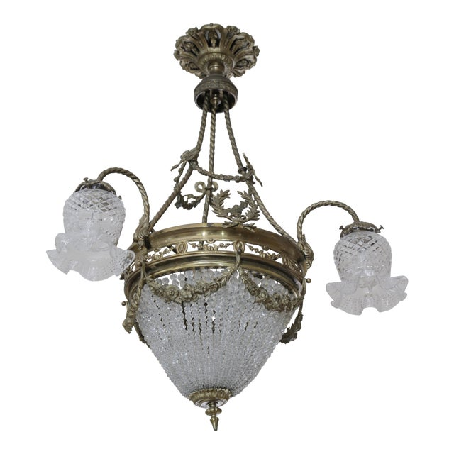 French 19th Century Empire Style Half Circular Crystal & Bronze Chandelier For Sale