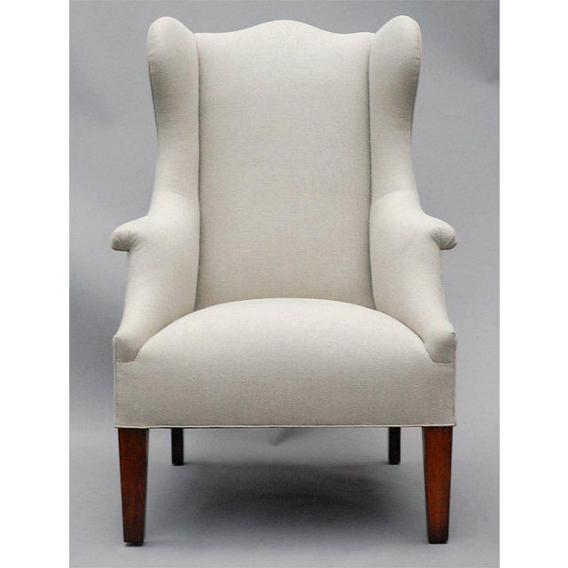 """Edwardian """"Somerton"""" by Lee Stanton Armchair Upholstered in Belgian Linen or Custom Fabric For Sale - Image 3 of 9"""