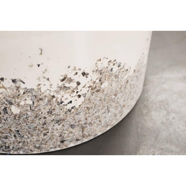 Hand Made Grey Agate and White Plaster Drum, Side Table by Samuel Amoia For Sale In New York - Image 6 of 7