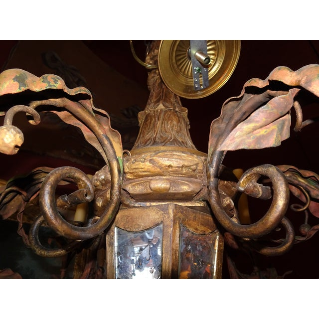 Antique French Gilt Wood and Iron Chandelier For Sale - Image 11 of 12