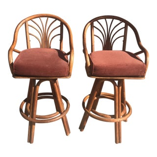 1960s Bentwood Swivel Bar Stools - a Pair
