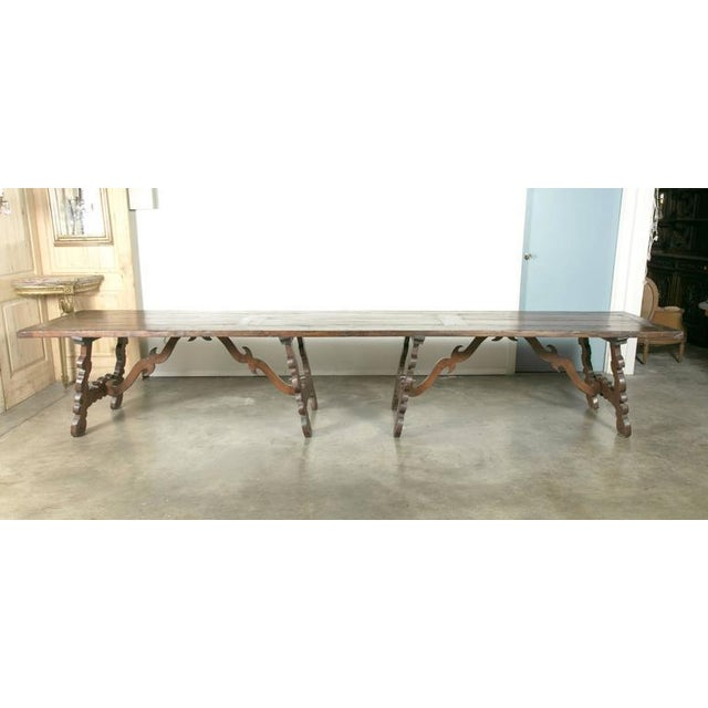 Early 19th Century Italian Baroque Style Walnut Trestle Dining Table For Sale - Image 10 of 10
